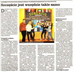 A newspaper article about the meeting in Slovenia